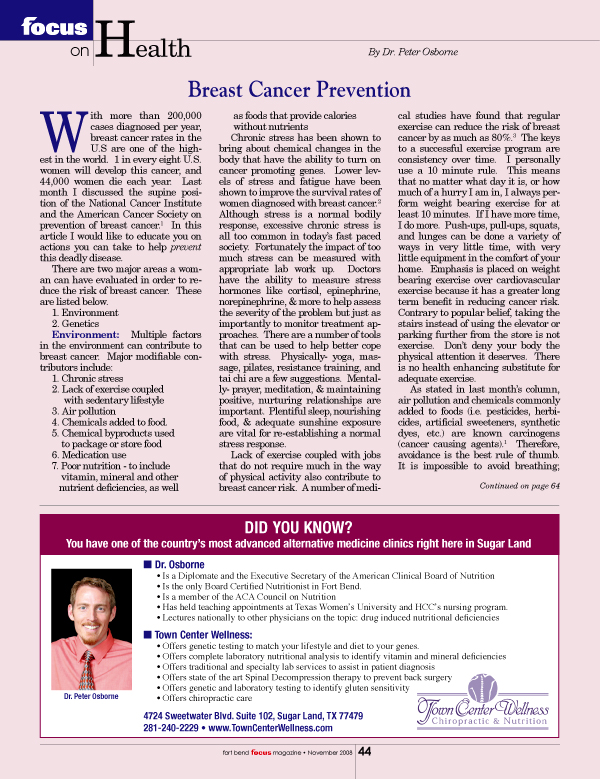 Breast Cancer Prevention - Early Detection Less Important